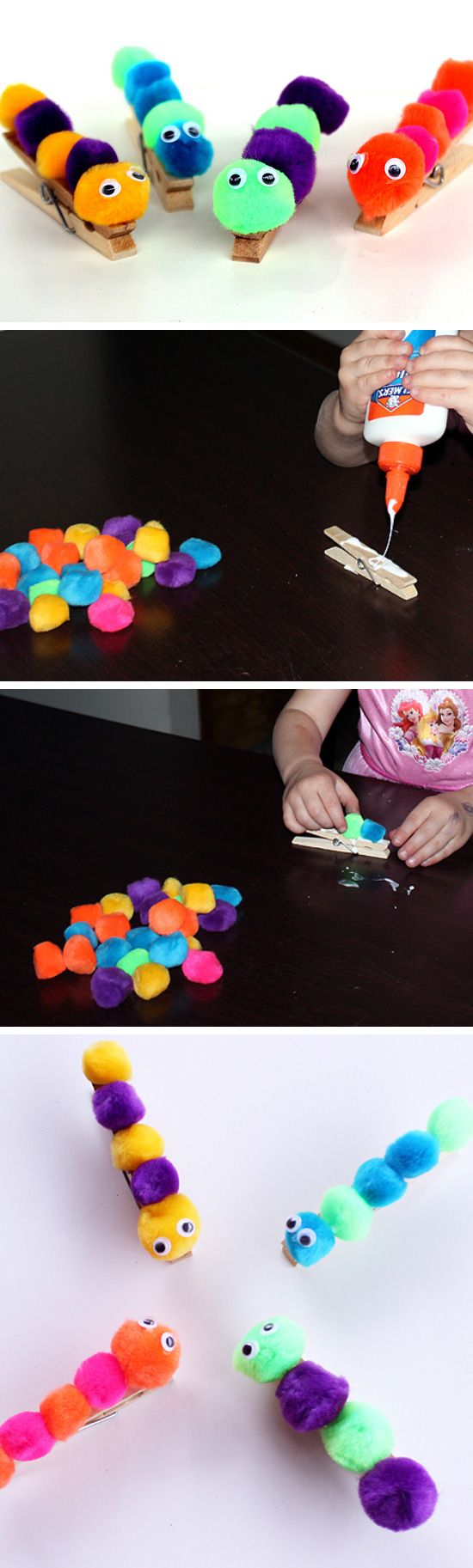 Clothespins and Pom Pom Caterpillar Craft.