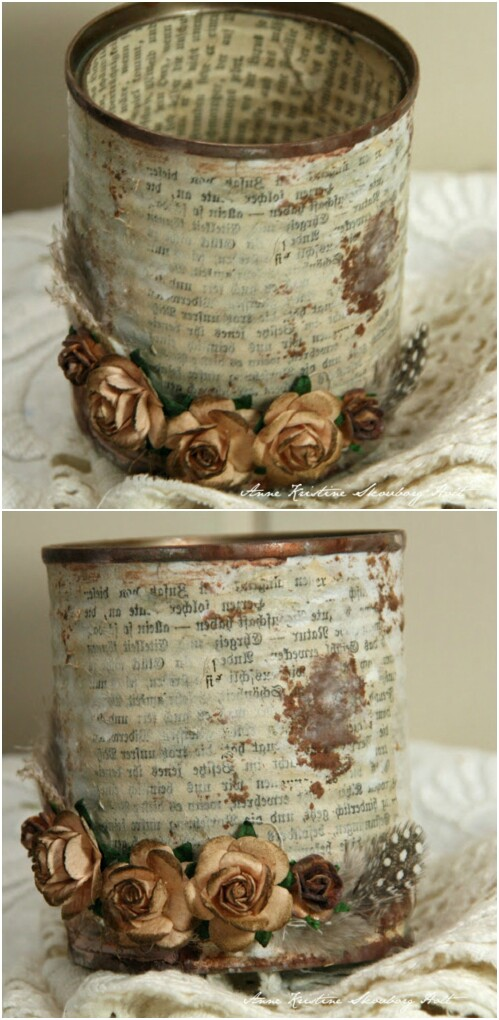 Vintage Upcycled Tin Can Holder for Craft Supplies.