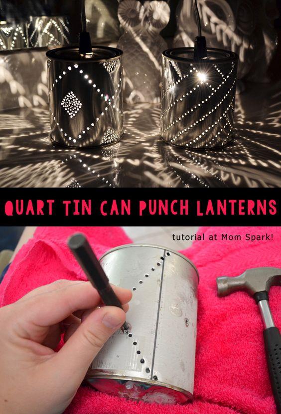 DIY Quart Tin Can Punch Lanterns.