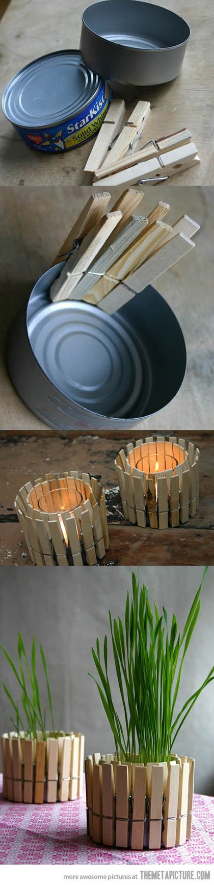 Candle Holders Made With Tin Cans and Clothes Pins.
