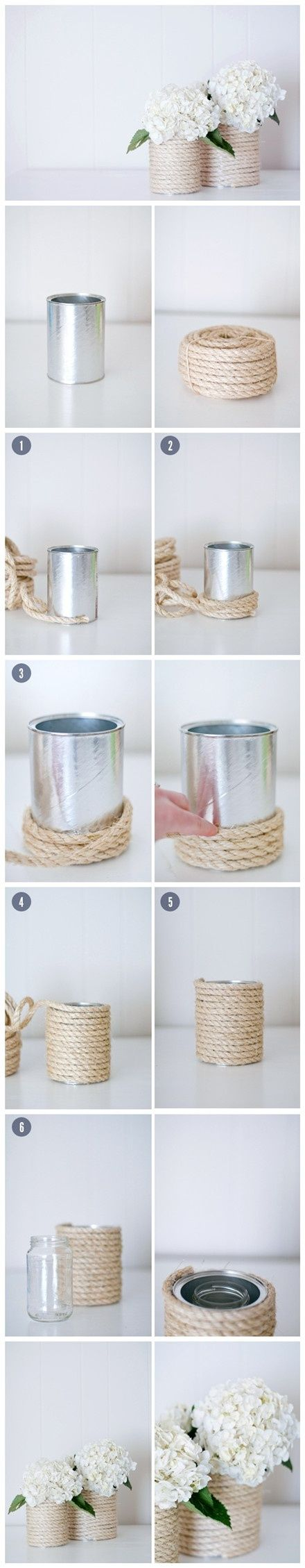 DIY Nautical Tin Can Rope Vases.
