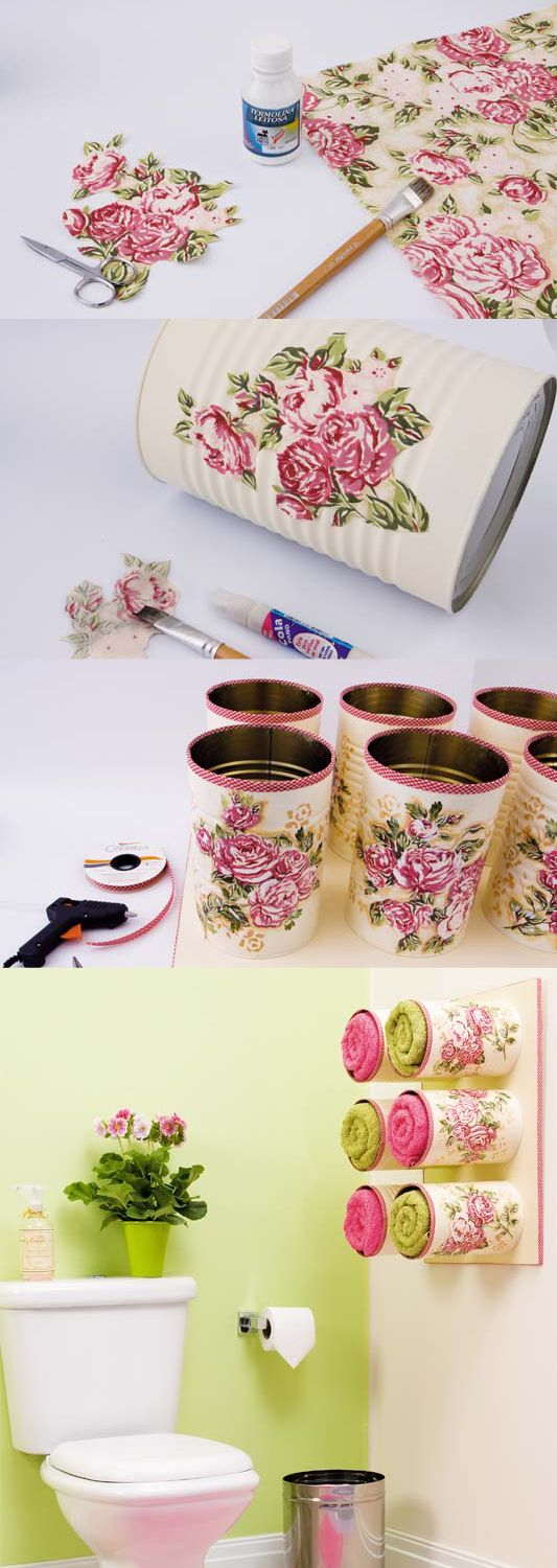Decoupage Tin Cans for Towel Storage and Wall Decor.