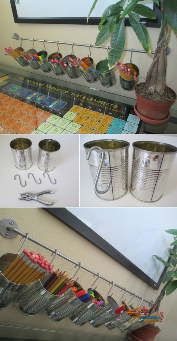 DIY Tutorial Tin Can Pencil Holders.