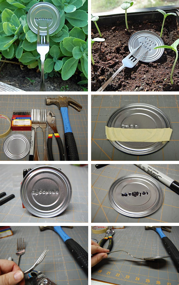 Plant Markers Made out of Tin Can Lids.