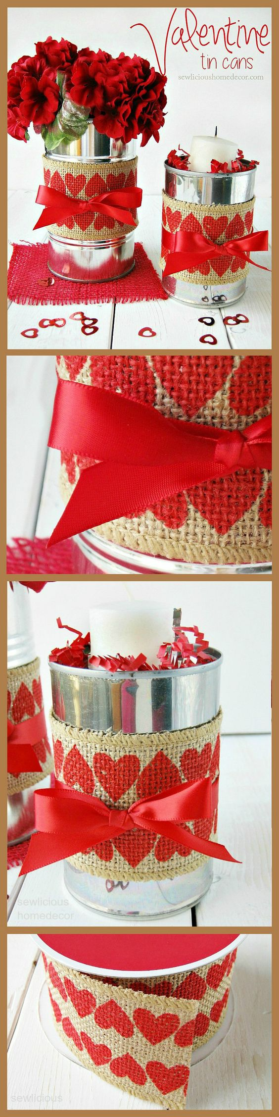 Valentine Tin Cans with Burlap.