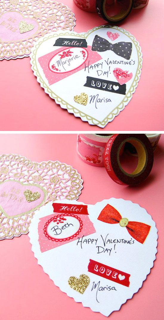 Washi Tape Valentines Card.