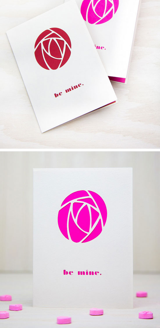 Rose Shaped Valentines Card.