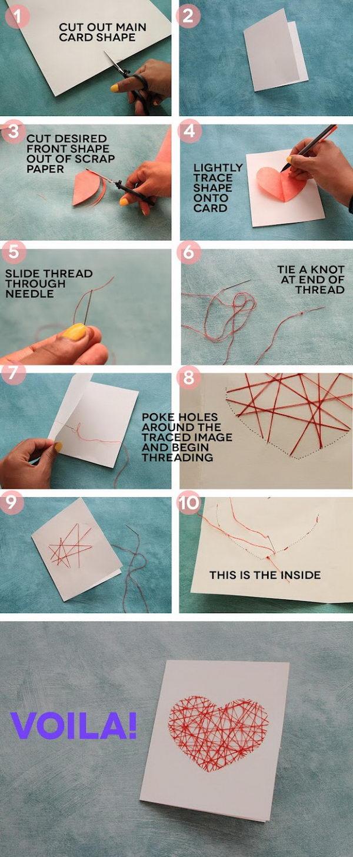 Hand-Stitched Valentine's Day Card.