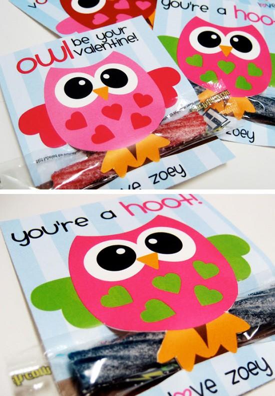 Free Printable Owl Valentines.