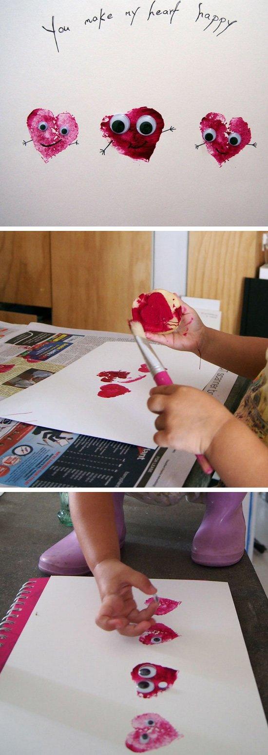 Potato Stamp Valentine's Day Craft.