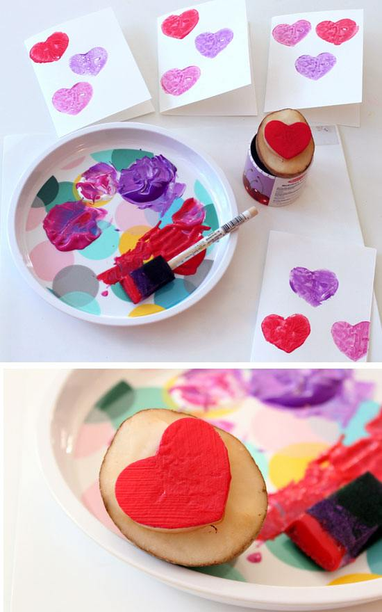 DIY Valentines Cards - with Potato Stamp.