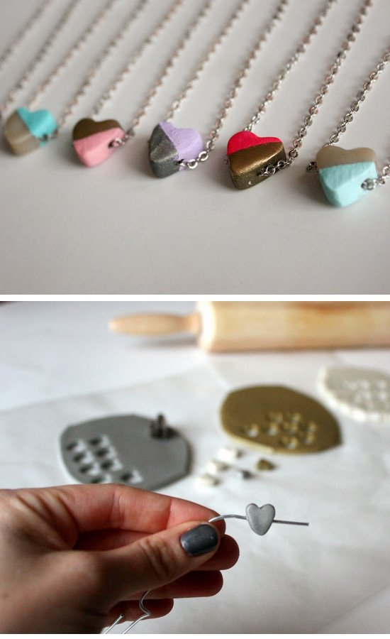Hand-Painted Clay Heart Necklaces.