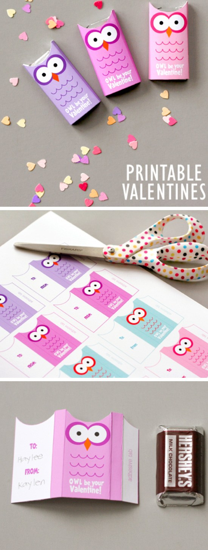 Owl Valentines Free Printable.