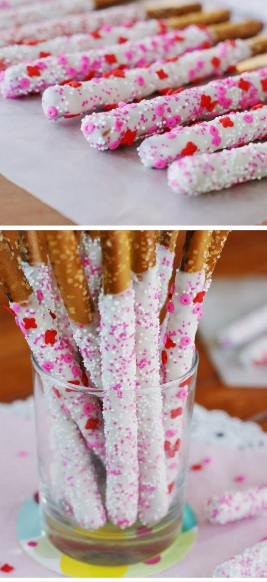 Valentines White Chocolate-Dipped Pretzel Rods.