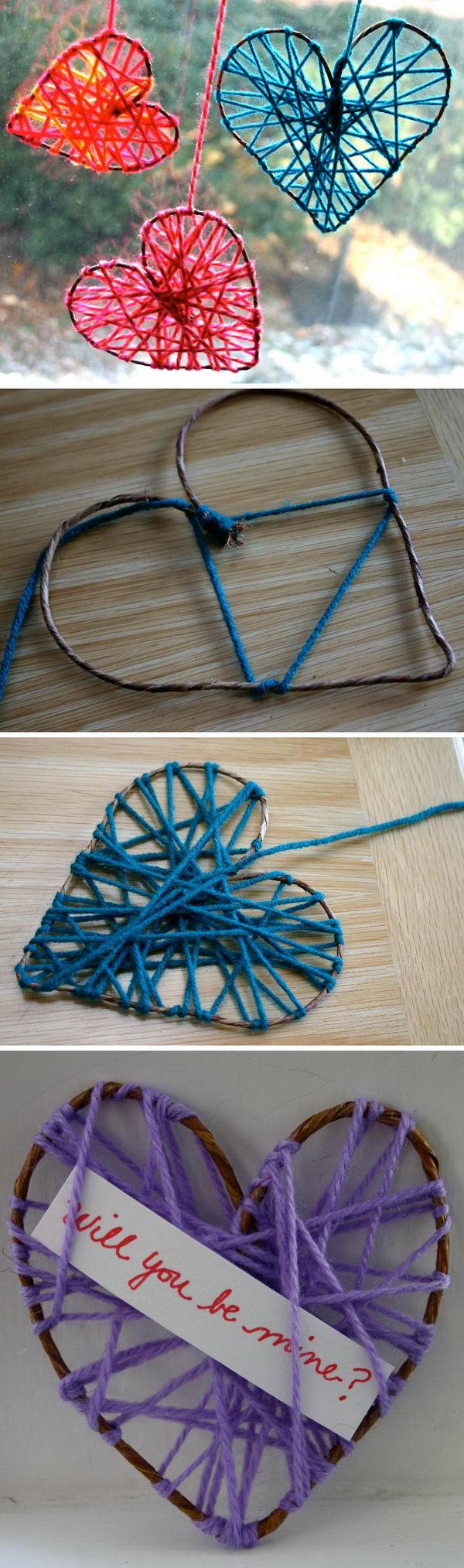 DIY Yarn Hearts.
