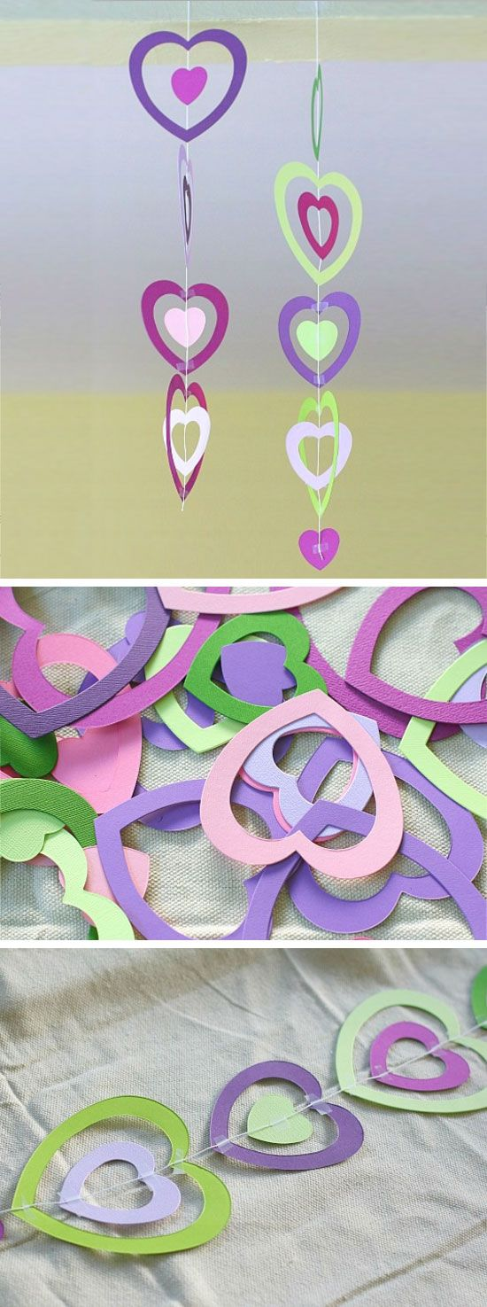 Paper Heart Mobile.
