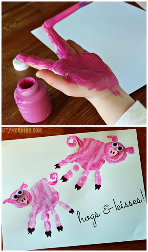 Easy Hand Print Pig Cards.