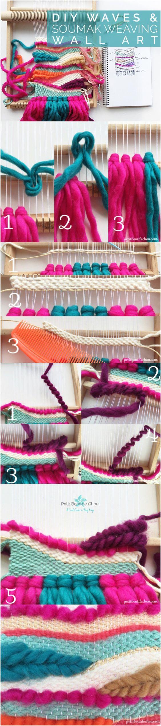 DIY Waves and Soumak Weaving Wall Art.