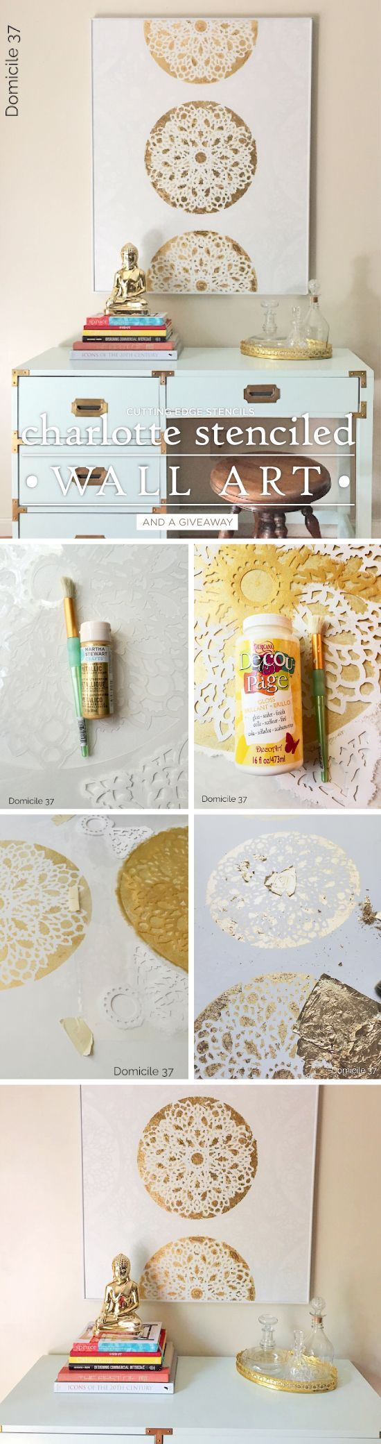 40 awesome wall art diy ideas tutorials for your home decoration 2017 stenciling wall art using a lace stencil solutioingenieria Images