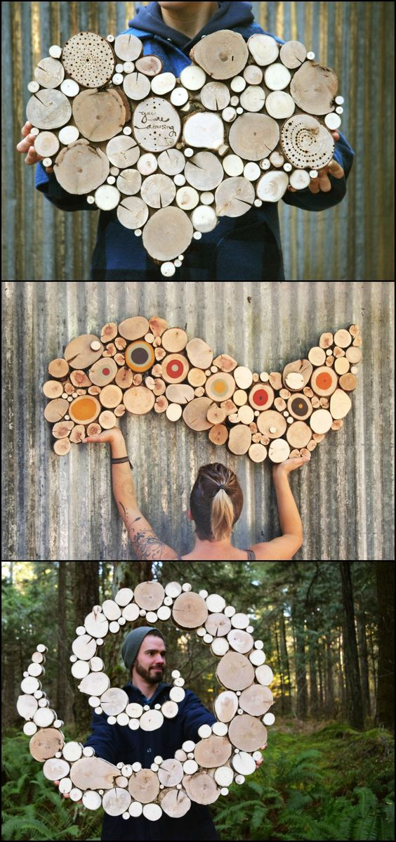 Wall Sculptures Made From Reclaimed Wood.