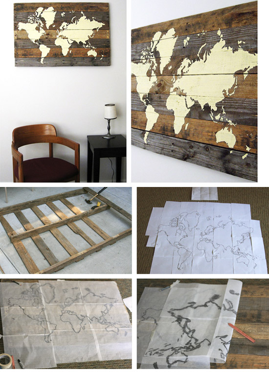 40 awesome wall art diy ideas tutorials for your home decoration 2017 pallet board world map gumiabroncs Gallery