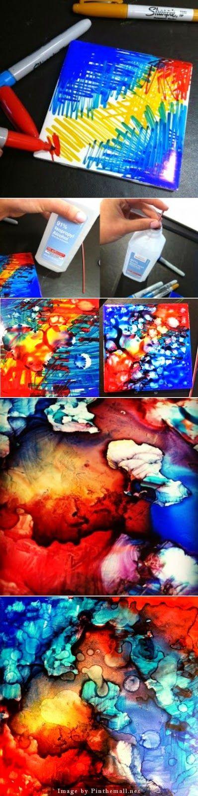 Beautiful Abstract Art Created On Tiles.