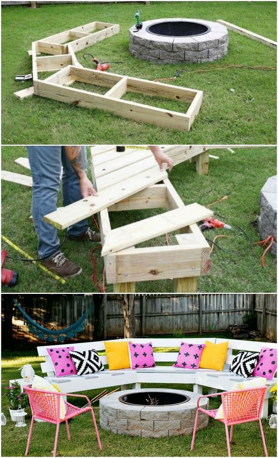Diy Circle Bench Around Your Fire Pit.