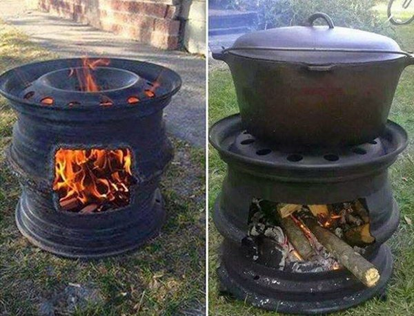 DIY Fire Pit with Car Wheel.