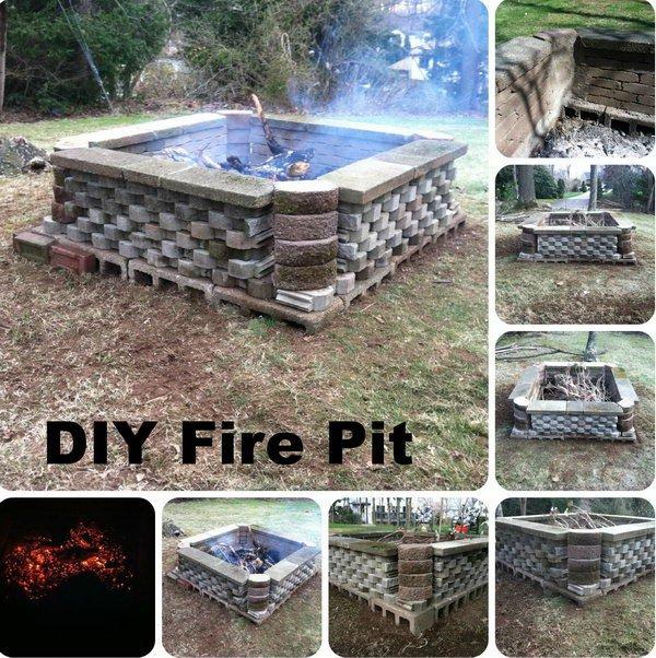 DIY Fire Pit Using Re-purposed Materials–Cinder Blocks.