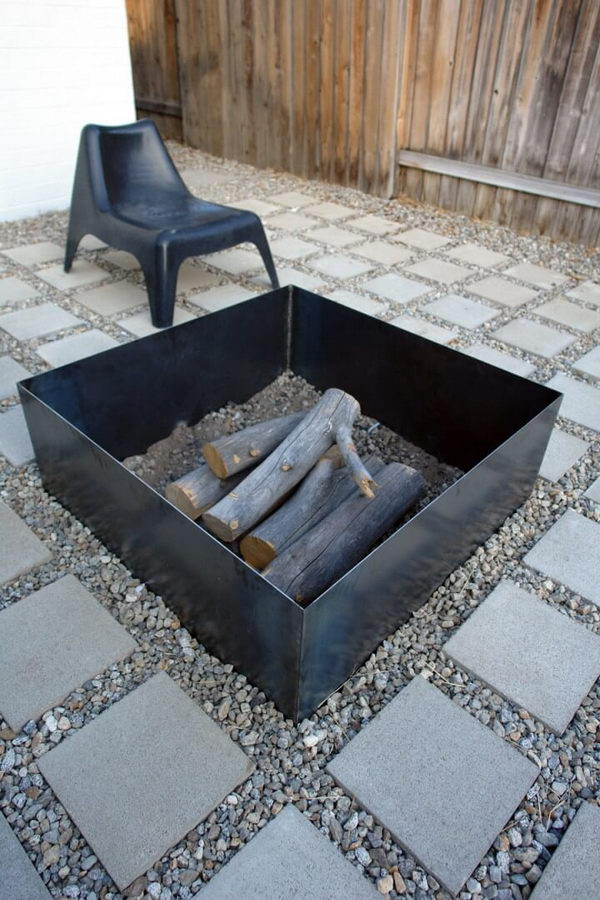 Super Simple Square Metal Firepit.