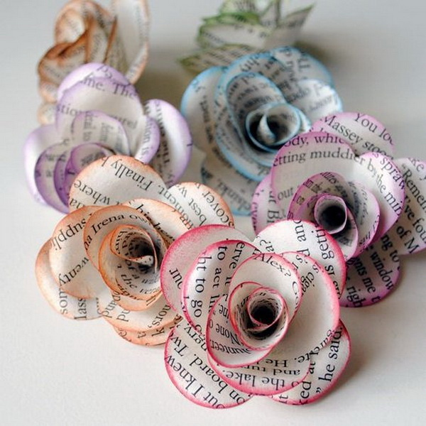 40 cool diy projects made with old books 2017 colored book paper flowers mightylinksfo Choice Image