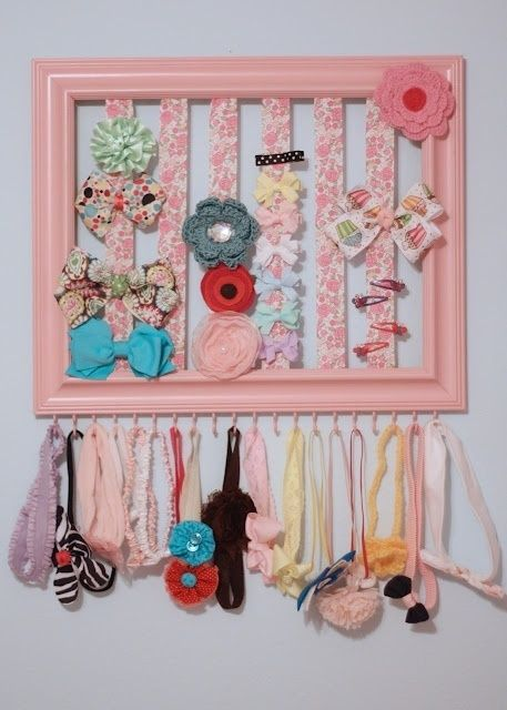 DIY Hair Bow Organizer Made From Old Picture Frame.