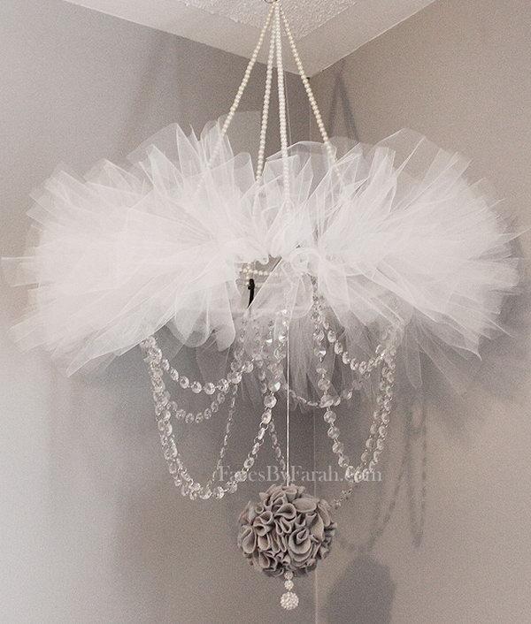 Elegant Tutu Chandelier for Baby Girl's Nursery.