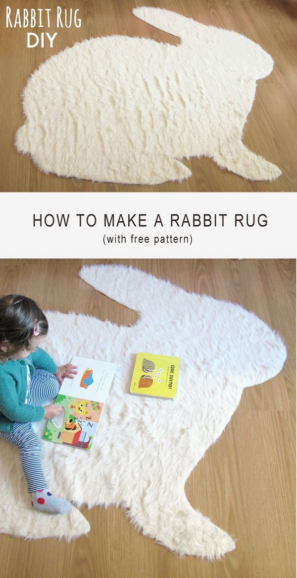 Easy and  Cute No Sew Rabbit Rug DIY.