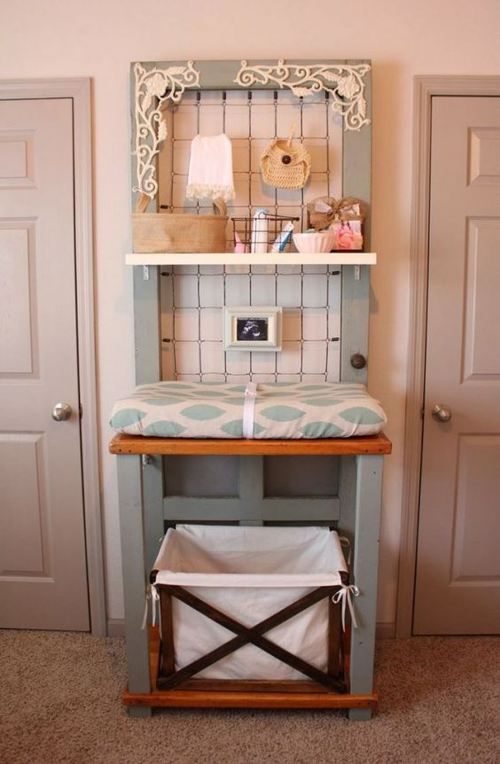 Space Friendly Changing Table With Added Shelf and Crate.