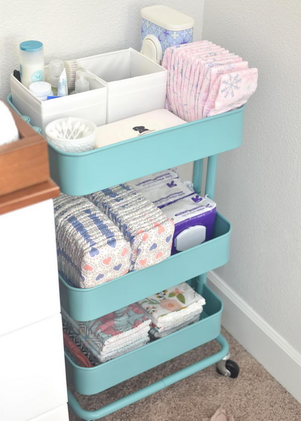 Convert an Ikea Rolling Cart To Changing Station Storage For Diapers And Wipes.
