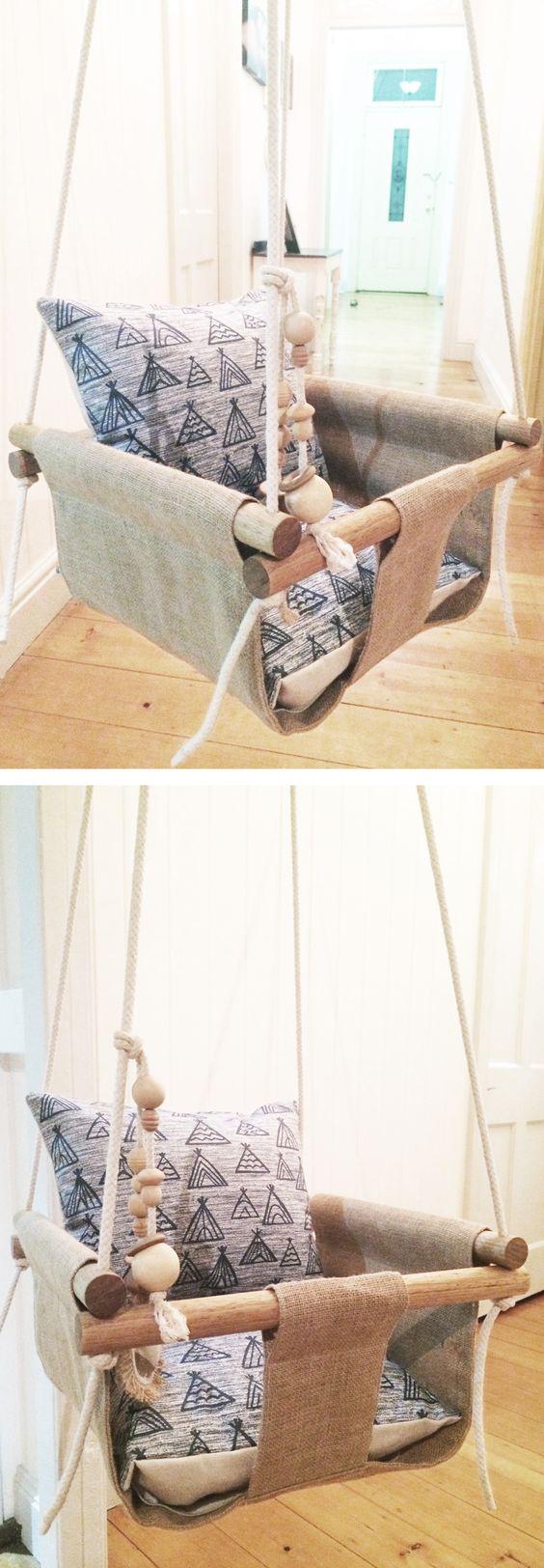 Handmade Burlap Baby Swing.