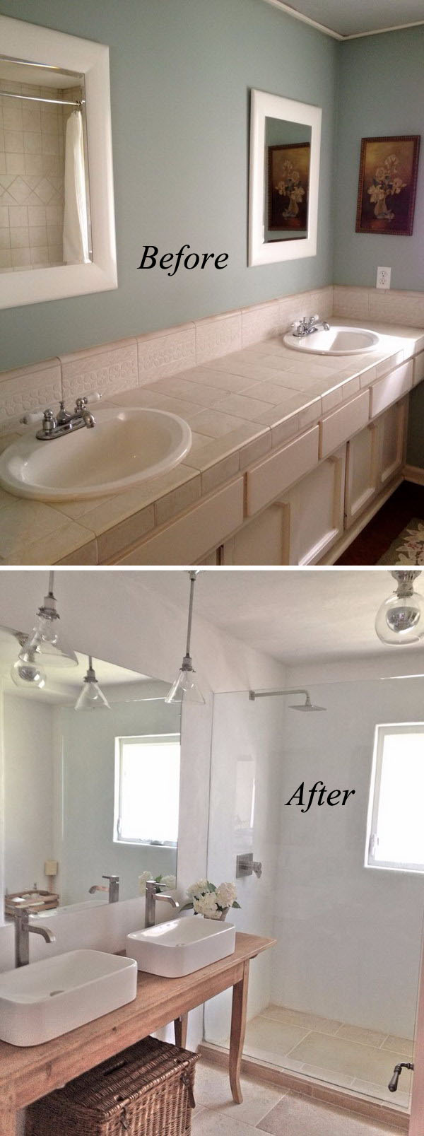 Before And After Dramatic Bathroom Makeovers - Tiny bathroom makeover