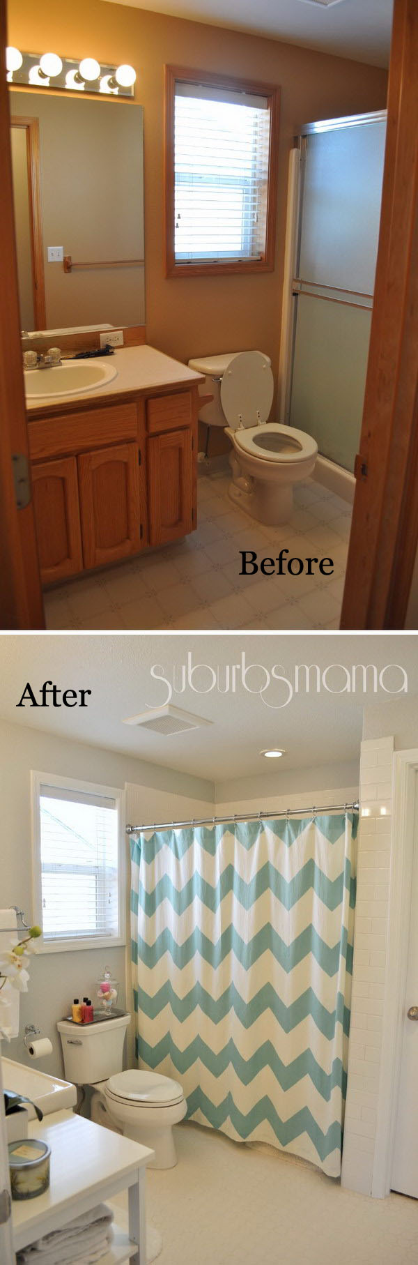 From Brown To White Color Tiny Bathroom Remodel.