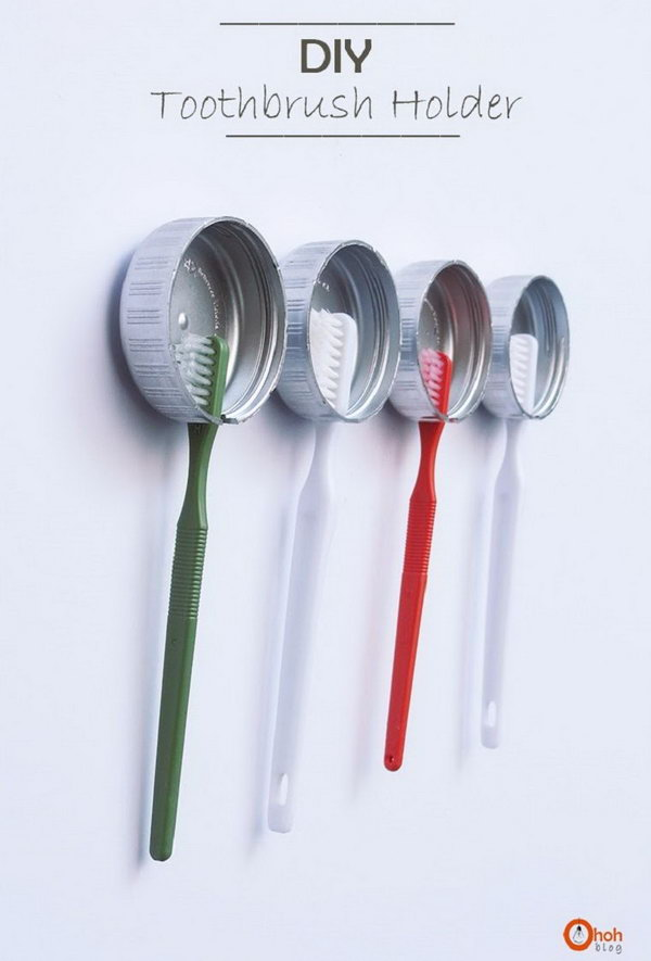 Use Recycled Bottle Caps To Store Your Toothbrushes