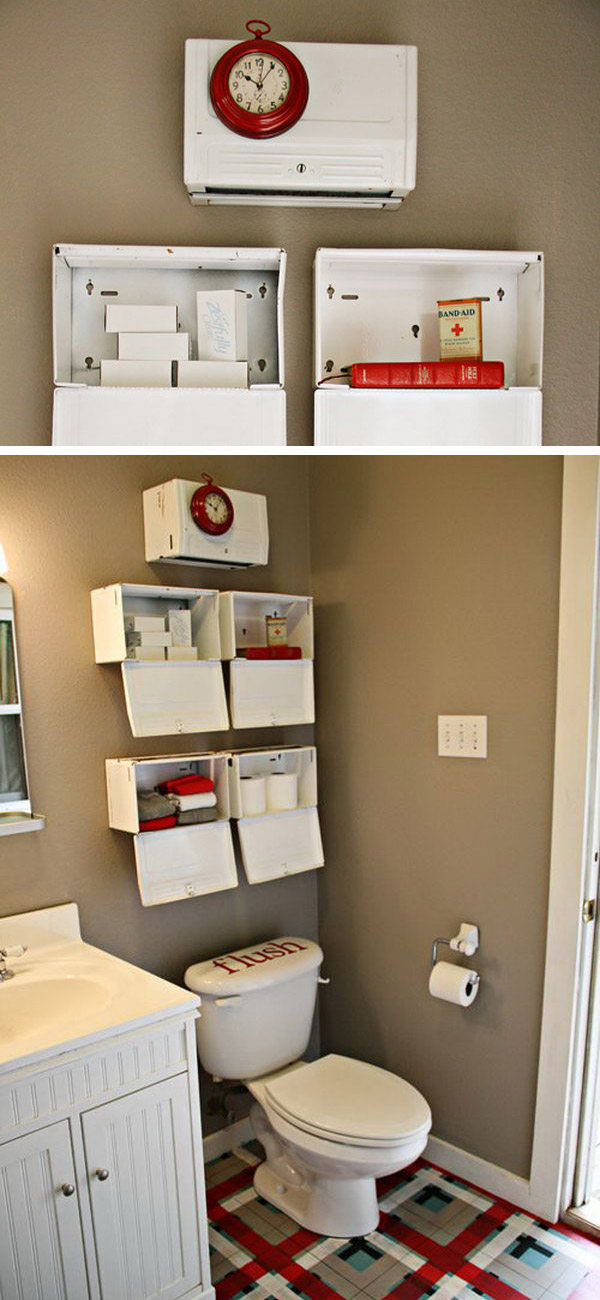 Install Metal Boxes Over The Toilet As Decorative Shelves