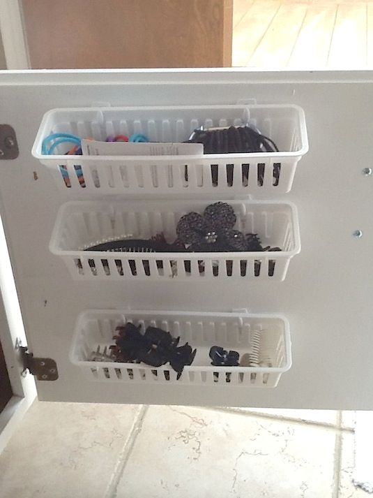 Behind Cabinet Door Storage Using Command Hooks And Baskets.