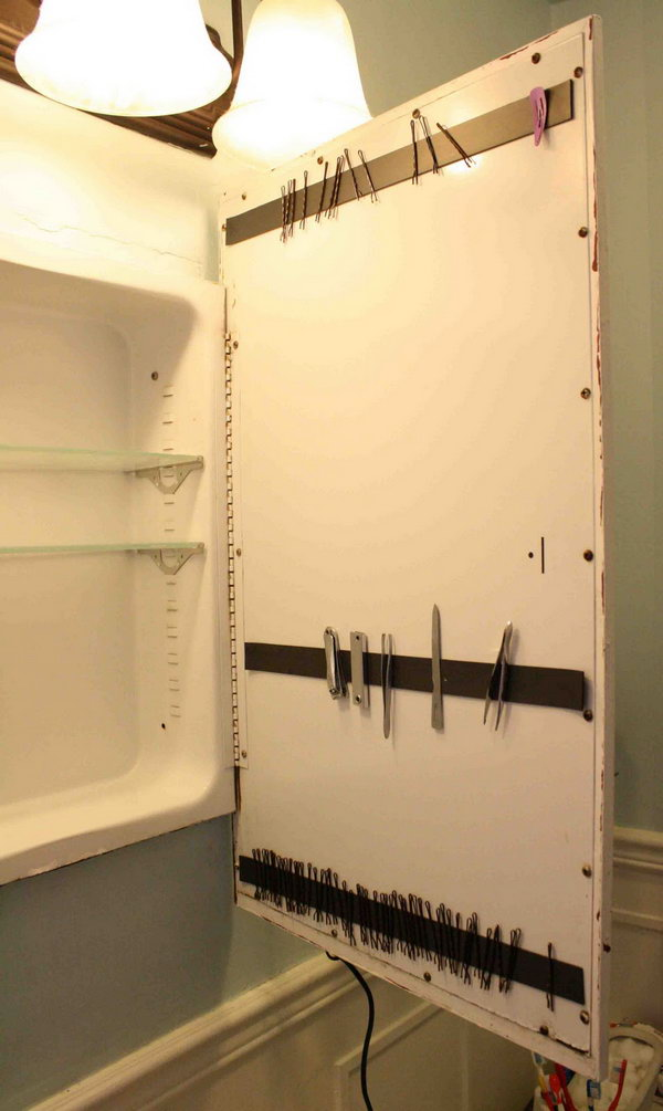 Organize Your Bobby Pins With The Magnetic Strip Over The Cabinet Door