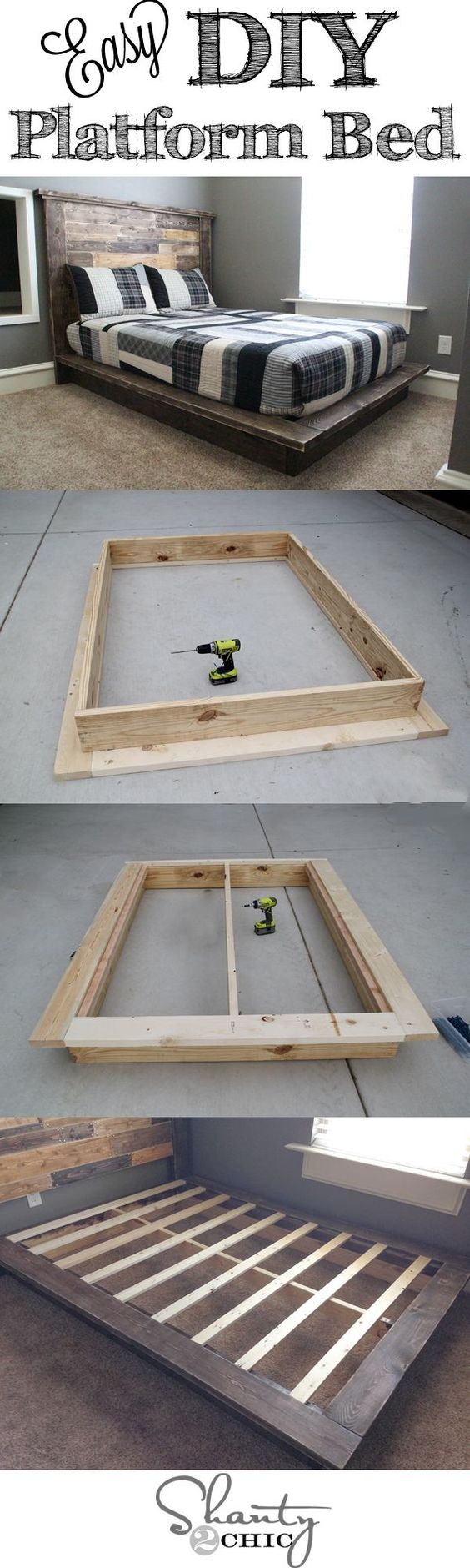 Easy DIY Platform Bed Frame.