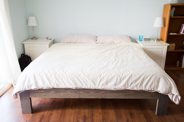 DIY Rustic Wooden Bed Frame. See how