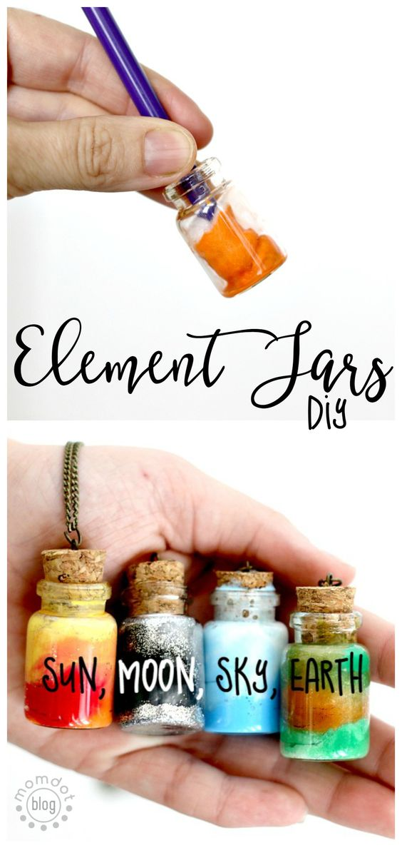 Create Sun, Moon, Earth, and Sky in these fun DIY Element Jar Necklaces.