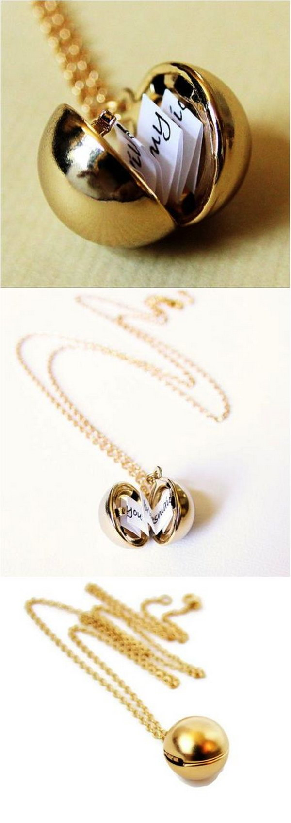 Secret Message Ball Locket Necklace.