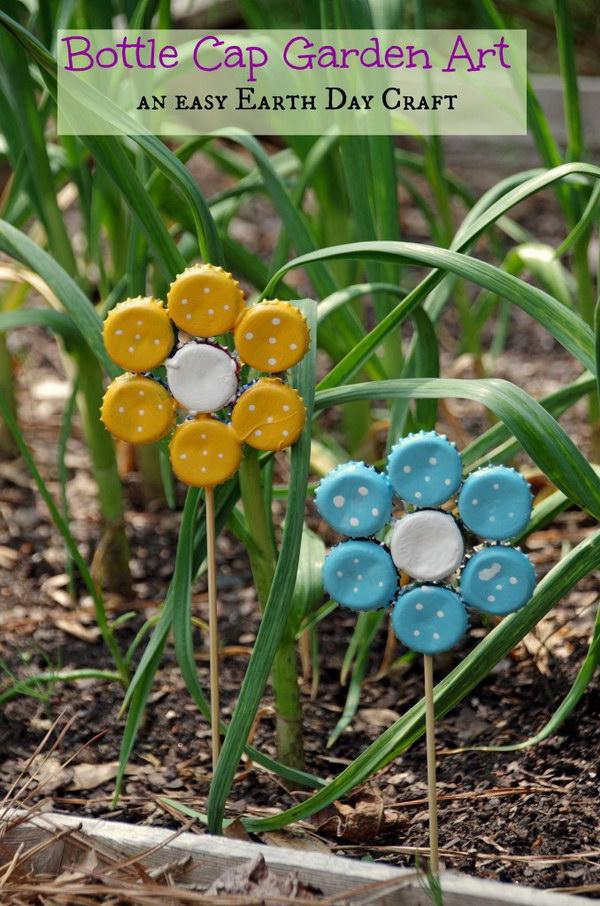 Bottle Cap Garden Art. An easy and fun Earth Day craft.