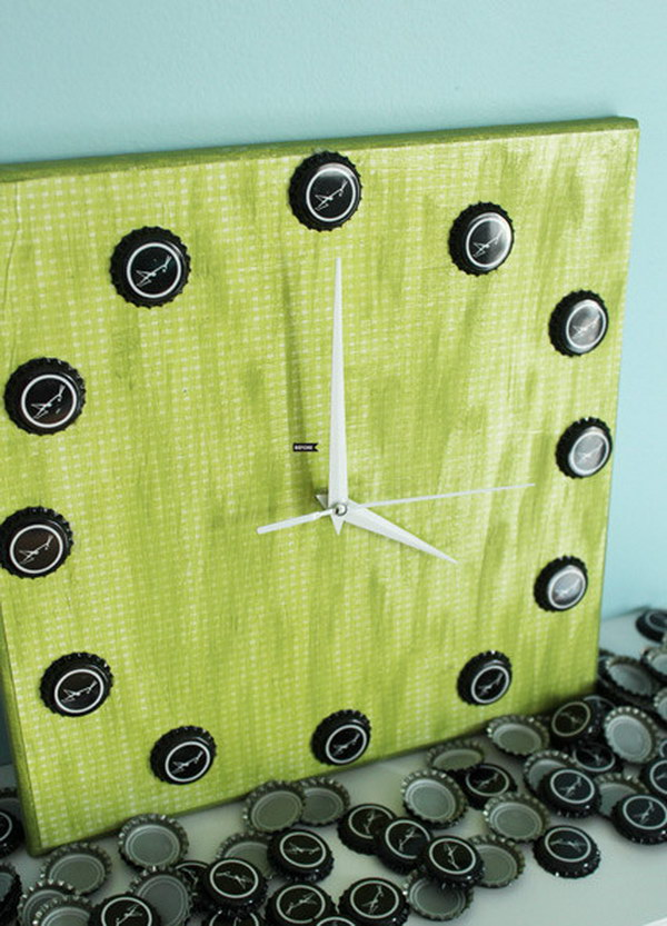 Cool Clock Made with Beer Bottle Caps. This bottle cap clock would add more homemade touch to your home. See the tutorial
