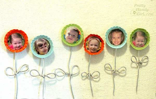 Bottle Cap Flower Magnets. Collect smiling faces of the ones you love to make these adorable and happy flower magnets with bottle caps, armature wire and a little paint. They make great gifts with personal touch. See the tutorial